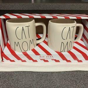 """Rae Dunn """"CAT MOM"""" & """"CAT DAD"""" Mug Set"""